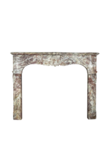 French 19Th Century Chique Multi Color Marble Fireplace Surround