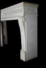 Groß Palace Weiß Statuarisch Marmor Vintage-Kamin Maske