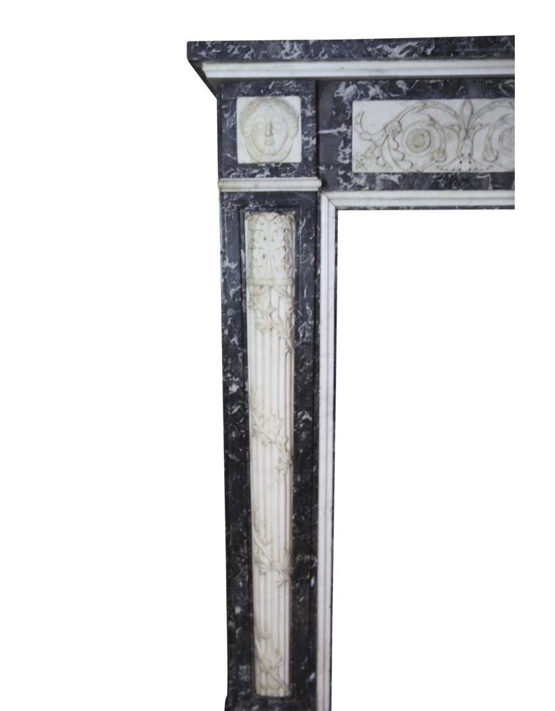 Original Des 18. Jahrhunderts Belgischen Antike Kamin Maske In Marmor