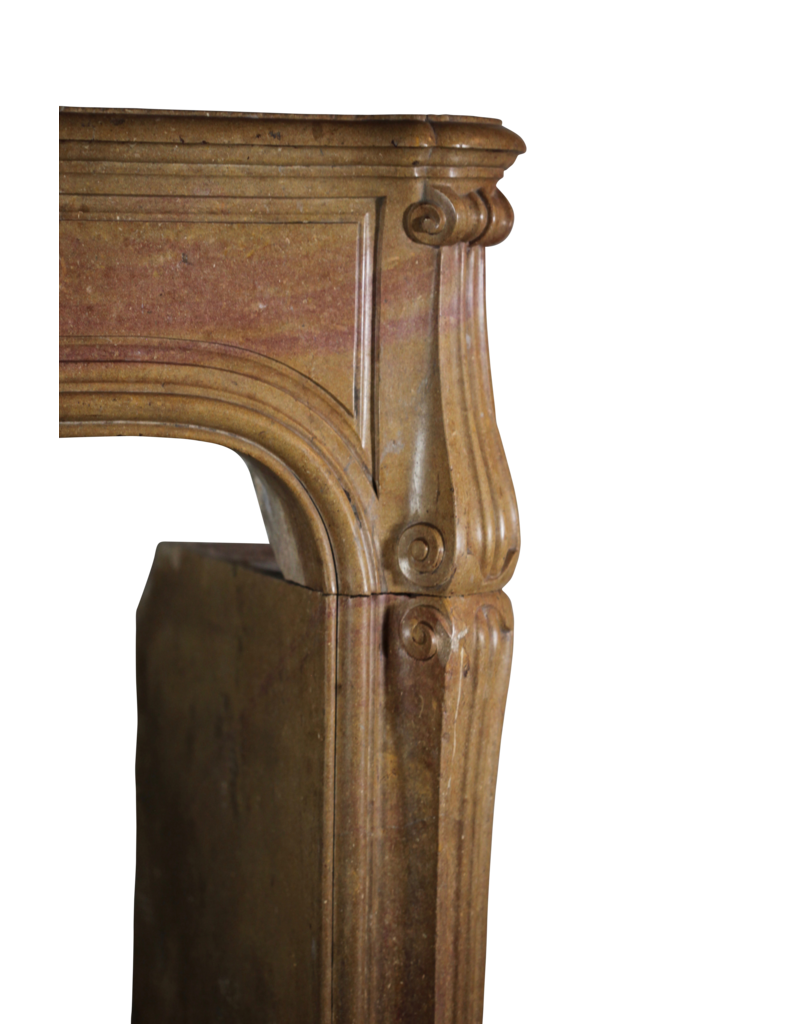 French Regency Period Antique Fireplace Surround In Bicolor Hard Limestone