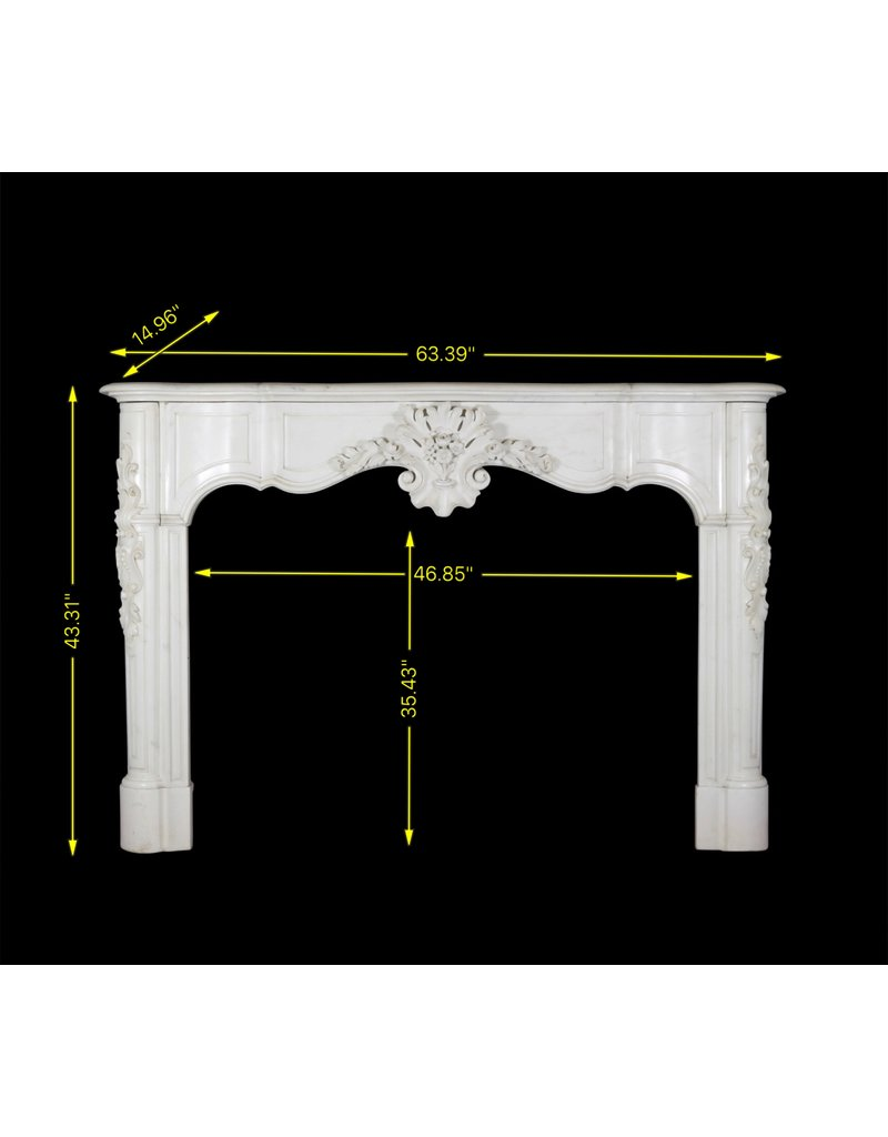 Exceptional Antique White Statuary Marble Fireplace Surround