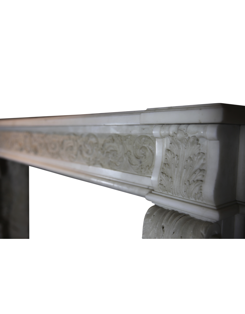 18Th Century Chique French Fireplace Surround In White Statuary Marble