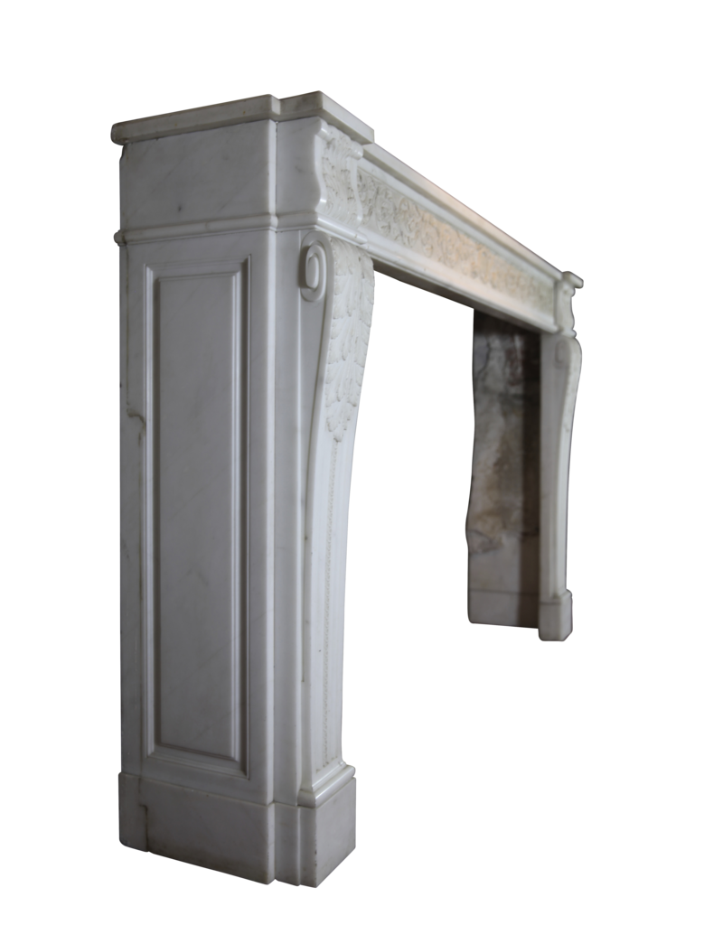Maison Leon Van den Bogaert Antique Fireplaces & Vintage Architectural Elements 18Th Century Chique French Fireplace Surround In White Statuary Marble