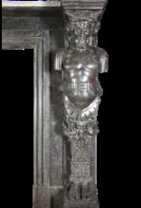 The Antique Fireplace Bank 19. Jahrhunderts Belgischen Bleu Stein Und Marmor Kamin Maske