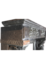 19Th Century Belgian Bleu Stone And Marble Fireplace Surround