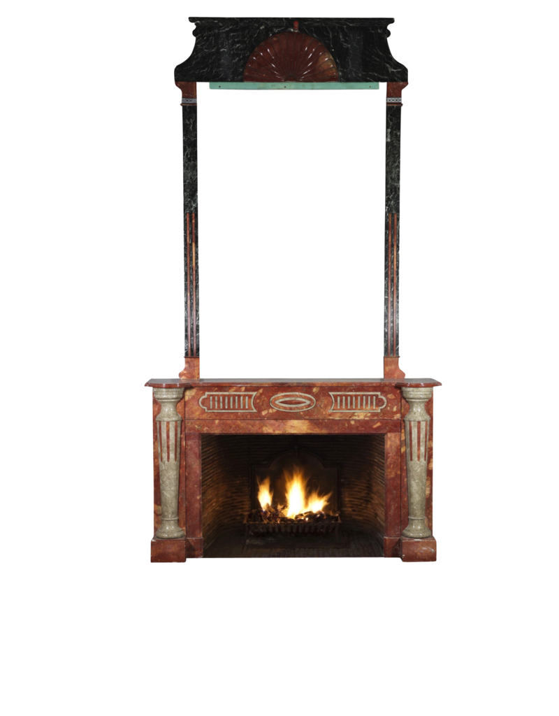 Grand Art Deco Period Antique Fireplace Surround With Multi Colour Marble