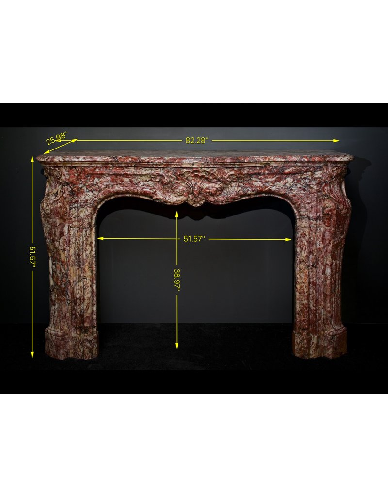 Monumental French Antique Fireplace Surround In Rich Color Marble