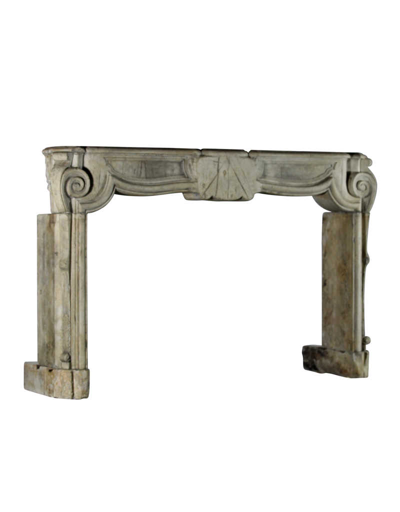 French 17Th Century Period French Country Style Antique Limestone Fireplace Surround