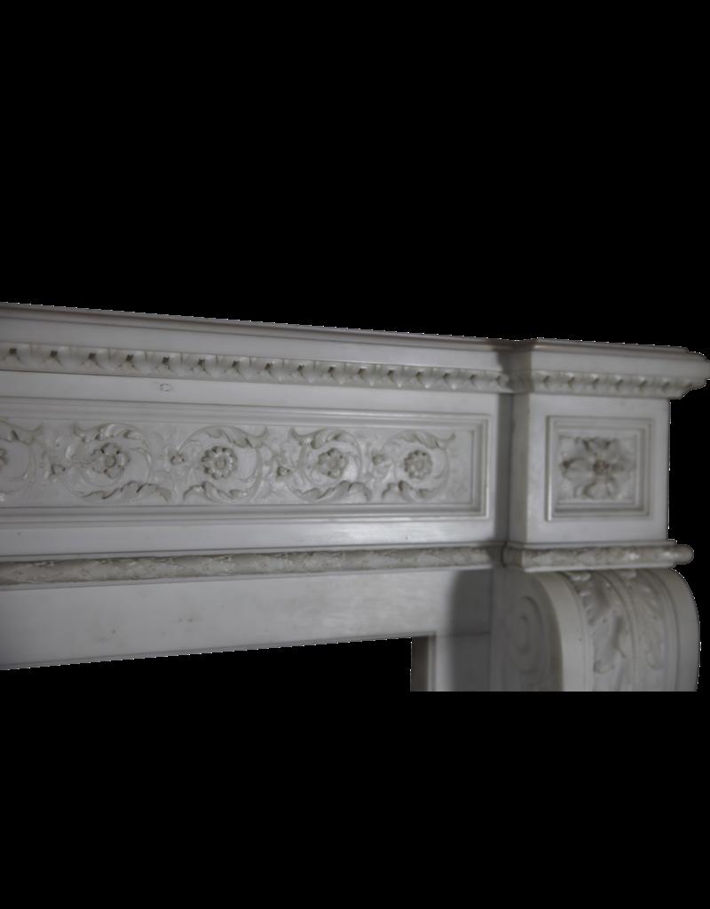 Groß Französisch Chique Antike Kamin Maske In White Statuary Marmor