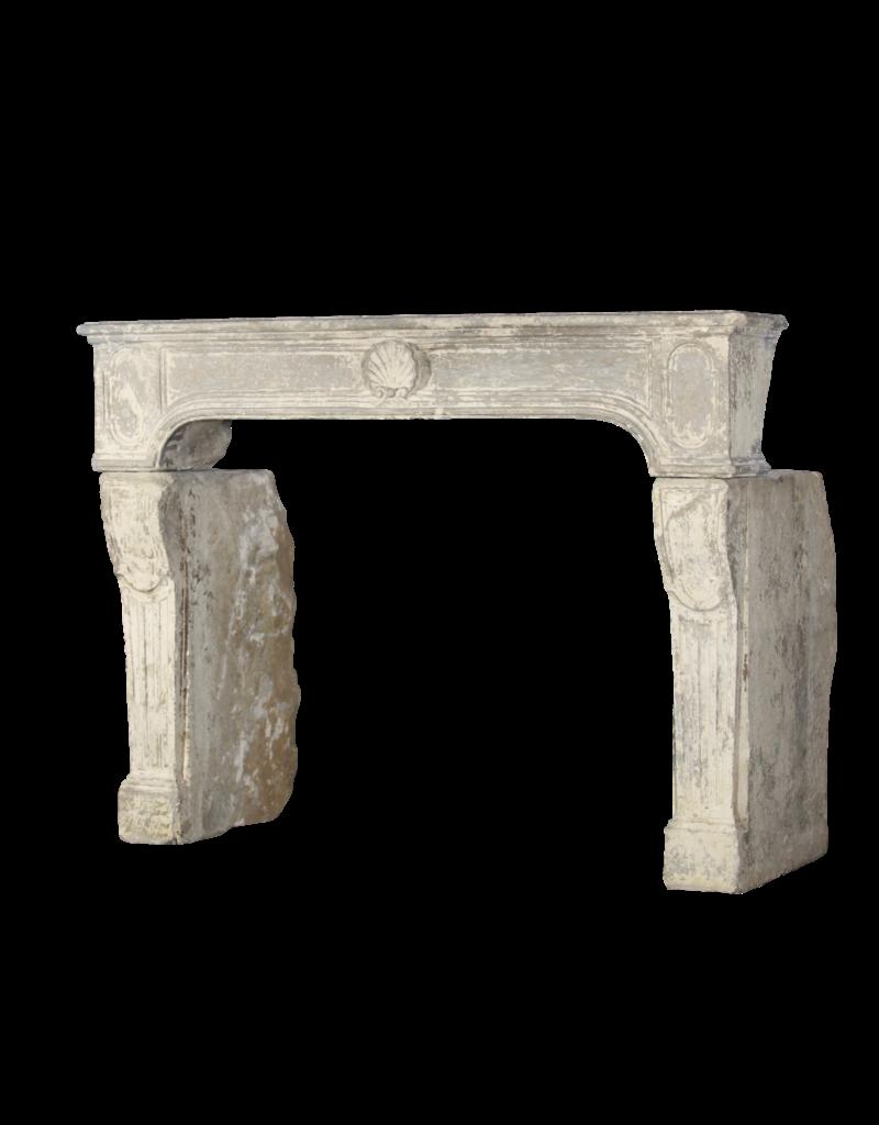 Siglo 18 Cosecha Fina Francesa Chimenea En Piedra Caliza