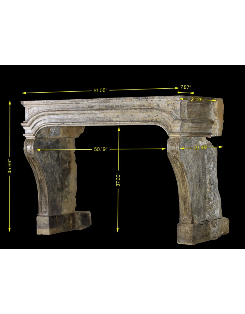French Country Style 17Th Century Period Limestone Fireplace Surround