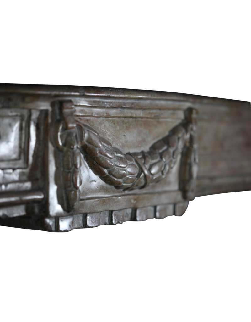 Groß Original-Zweifarbig Französisch Harten Stein Antike Kamin Maske