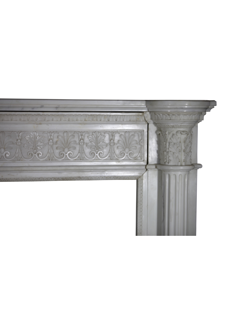 The Antique Fireplace Bank Grand 19Th Century White Statuary Marble Vintage Fireplace Surround