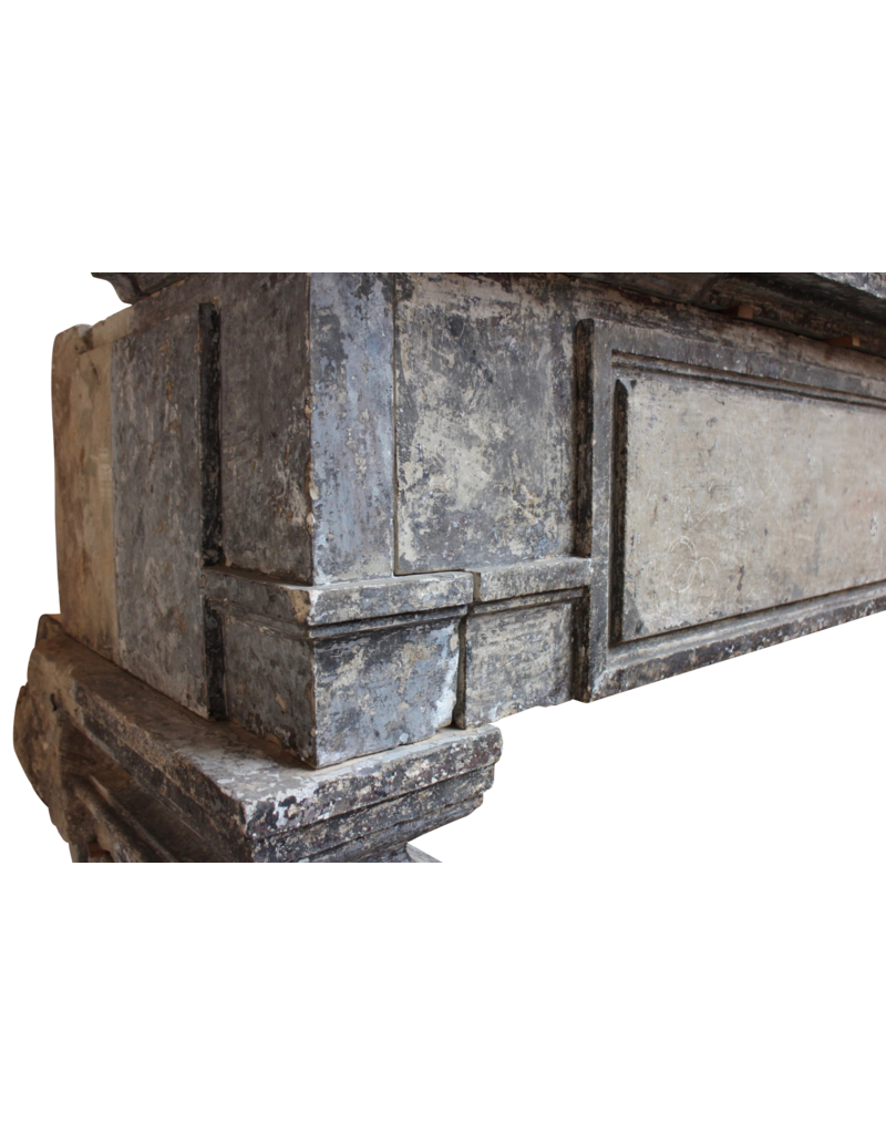 Grand French Chique Renaiscance Period Antique Fireplace Surround In Limestone