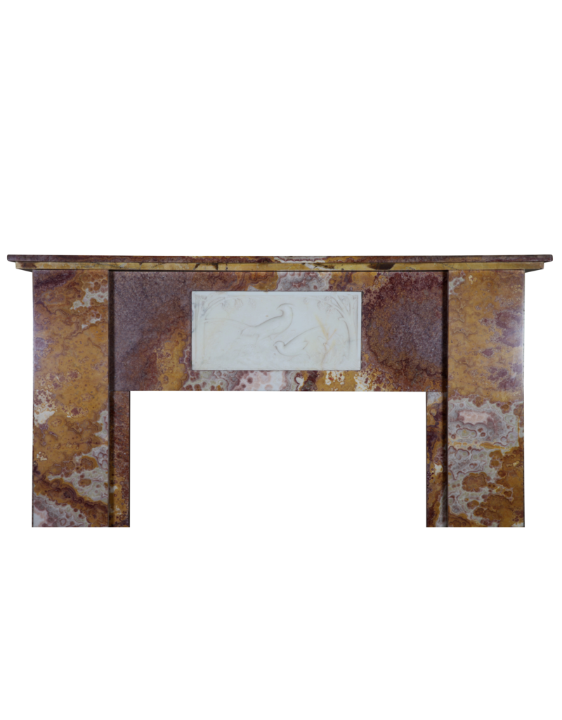The Antique Fireplace Bank Fine Art Deco Period Antique Fireplace Surround In Onyx With Paradise Birds