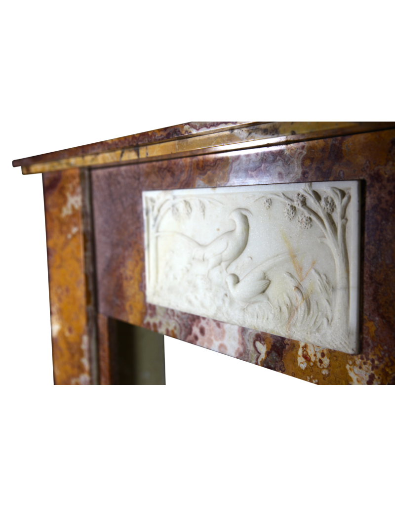 Fine Art-Deco-Periode Antike Kamin Maske In Onyx Mit Paradise Birds