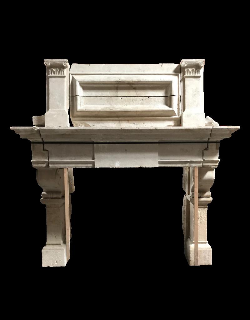 French 16Th Century Period Limestone Fireplace Surround