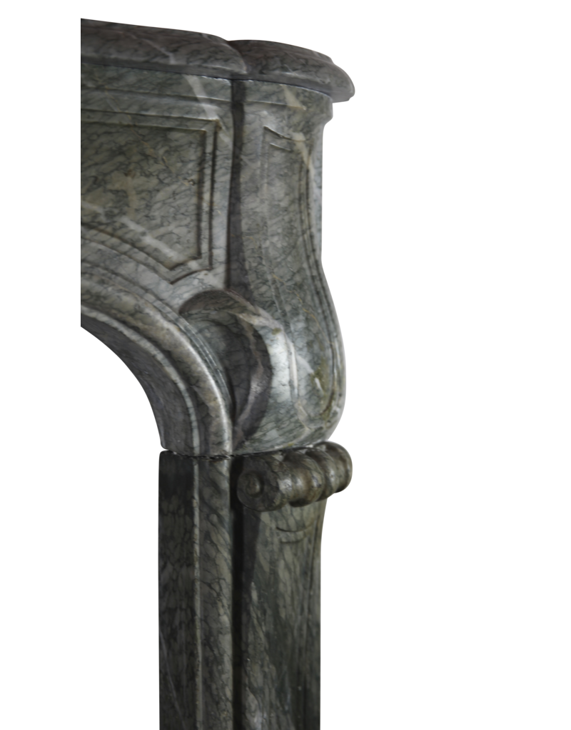 French Campan Vert Marble Antique Fireplace Surround