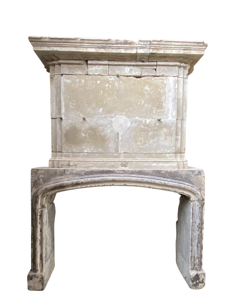 French 16Th Century Period Limestone Antique Fireplace Surround With Upper Mantle