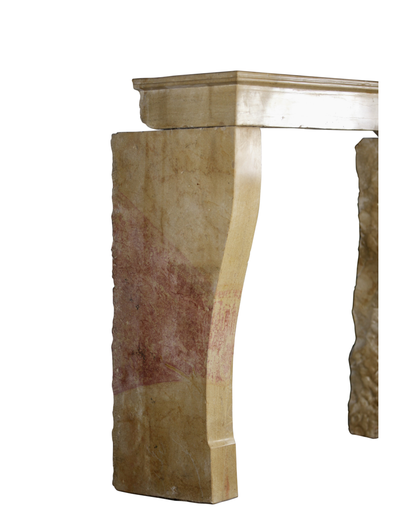 French Bicolor Hard Stone Vintage Fireplace Mantle