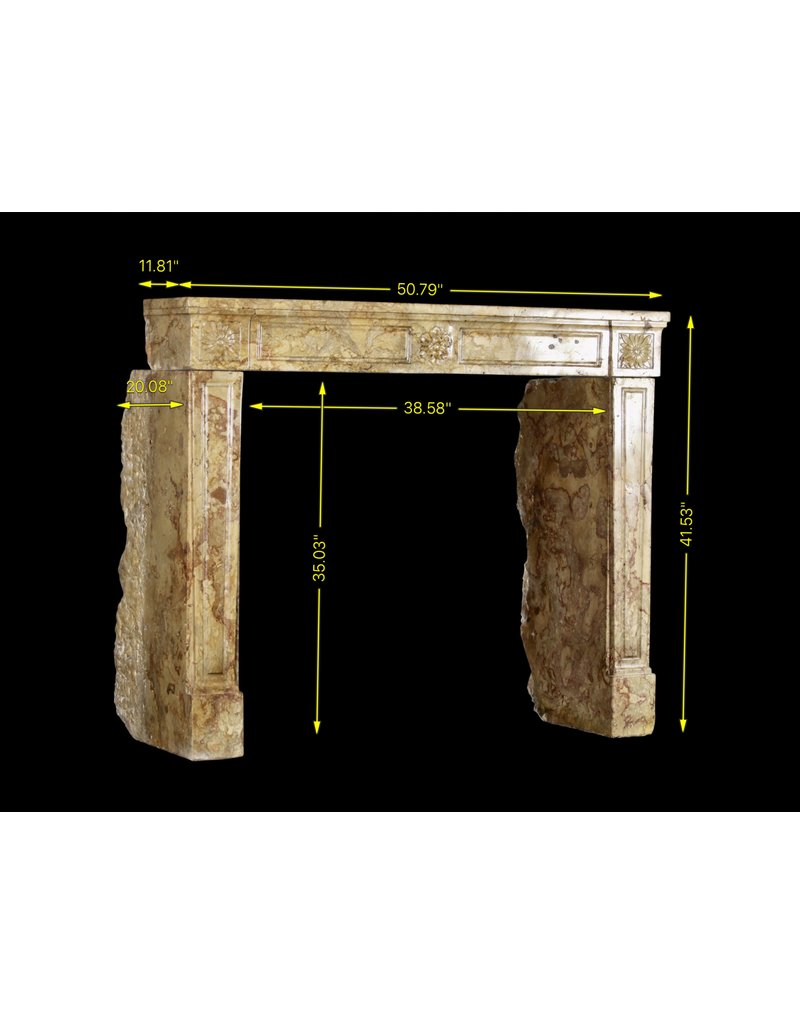 Antique Louis XVI Period Fireplace Surround In Marble