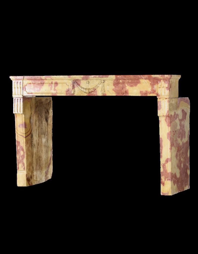 The Antique Fireplace Bank Fuerte Bicolor Louis XVI Período Francés Vintage Chimenea