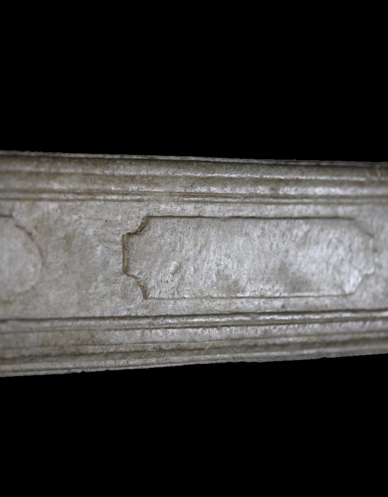 Chimenea De Piedra Caliza Antigua Del Siglo XVIII Francés