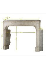 French 18Th Century Antique Limestone Fireplace Surround