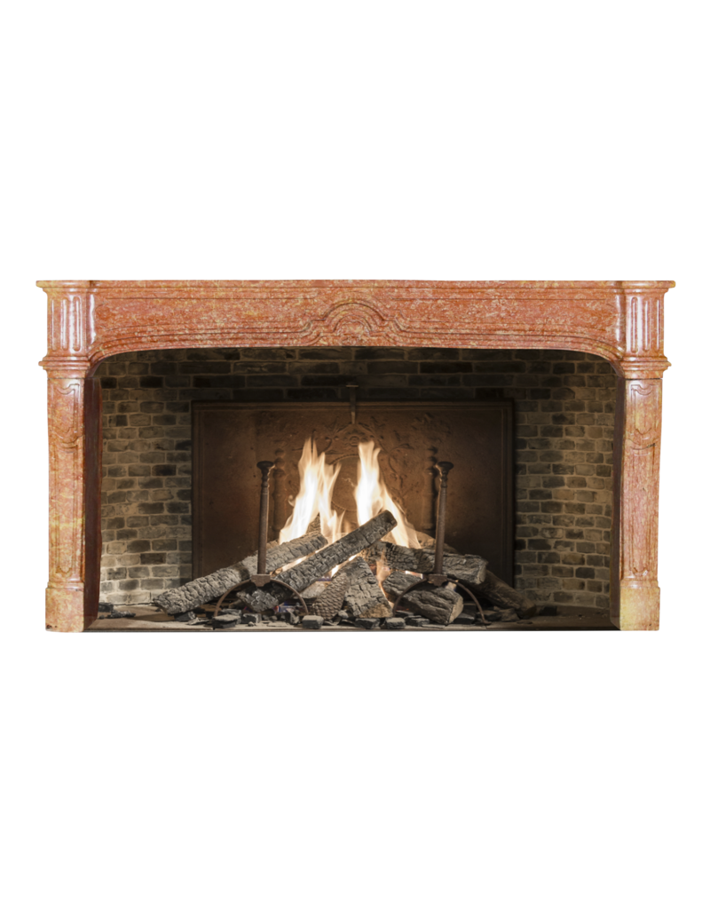 Extreme Wide Antique Fireplace Surround In Bicolor Hard Stone