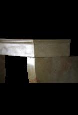 Pequeña Chimenea Vintage Francesa De Piedra Caliza Bicolor