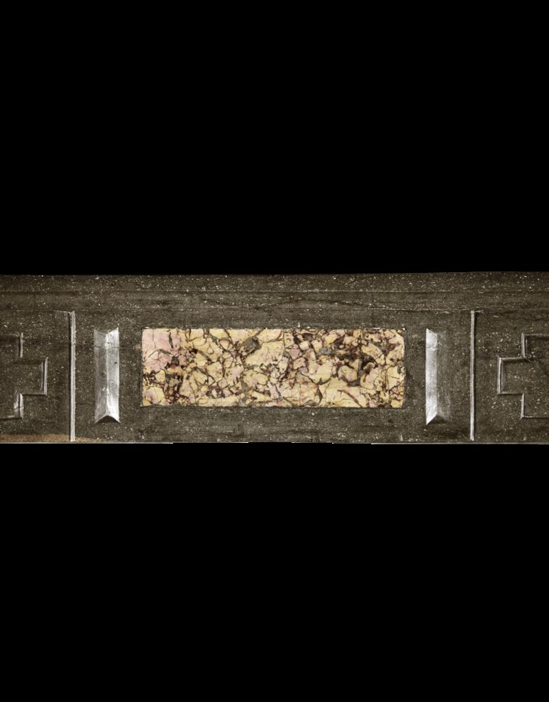 Chimenea Antigua De Piedra Dura Bicolor Del Gran País Francés