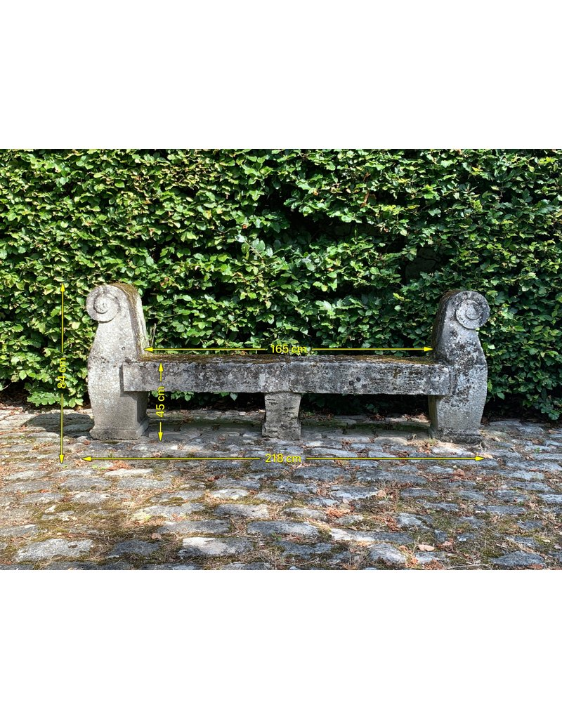 Antique French Castle Garden Bench In Limestone