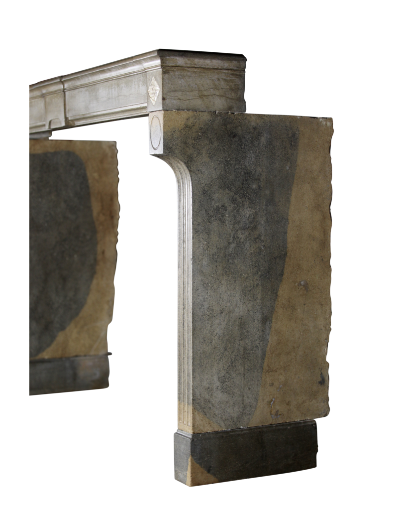 Bicolor Vintage Hard Stone French Fireplace Surround