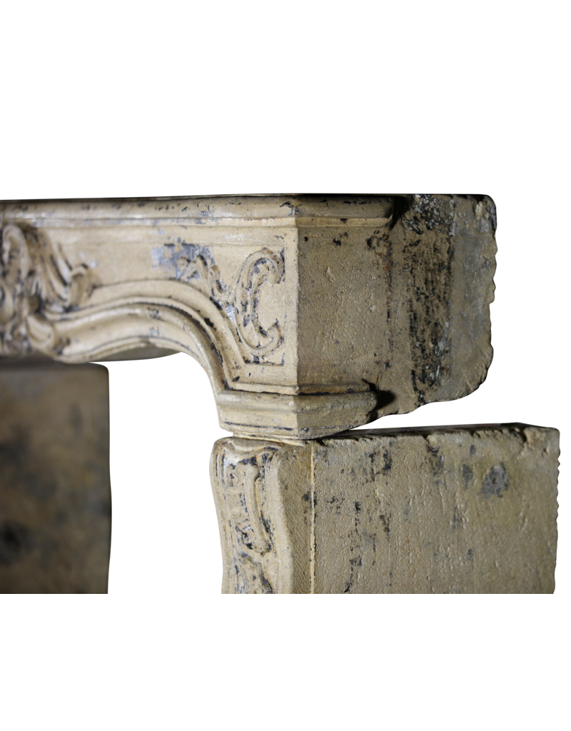 Vintage French Country Style Limestone Fireplace Surround