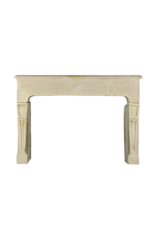 Antike Französische Kalkstein-Kamin Im Landhausstil