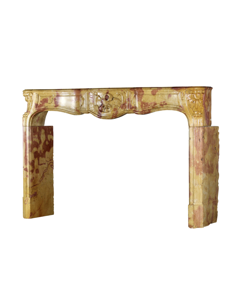 Exceptional French Bicolor Stone Fireplace Surround