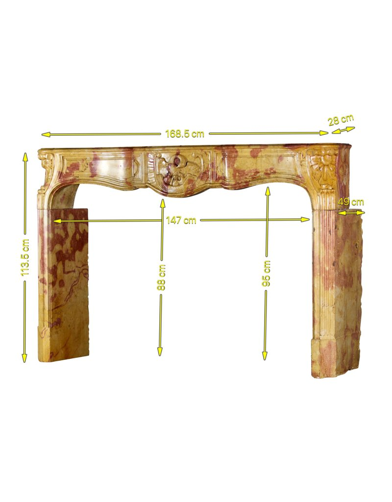 The Antique Fireplace Bank Exceptional French Bicolor Stone Fireplace Surround