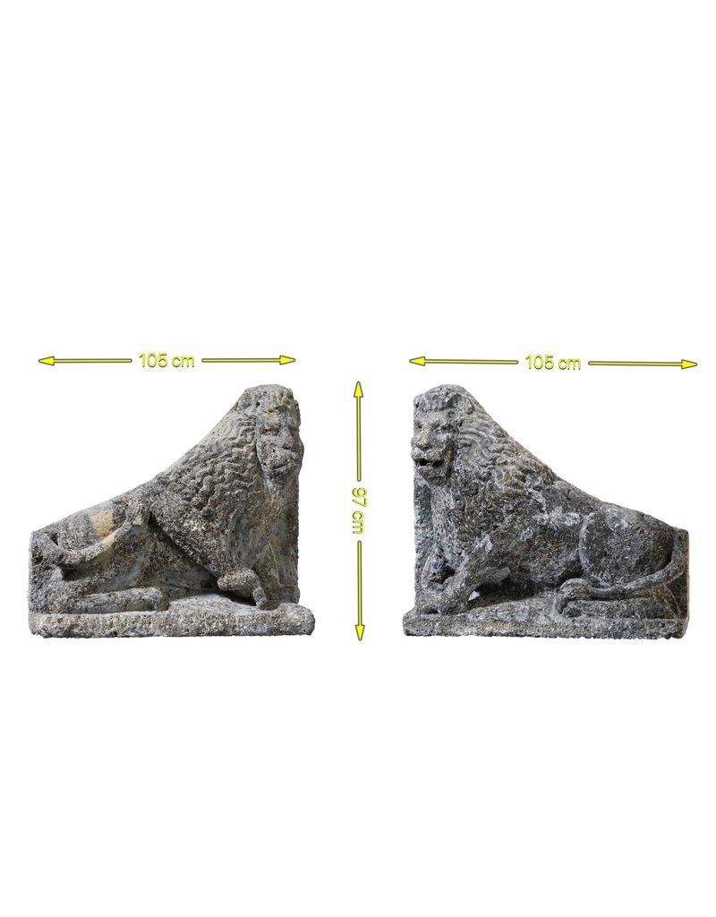Maison Leon Van den Bogaert Antique Fireplaces & Vintage Architectural Elements Antique Pair Of Limestone Lions