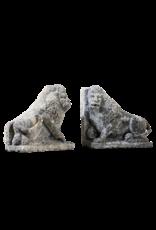 Antique Pair Of Limestone Lions