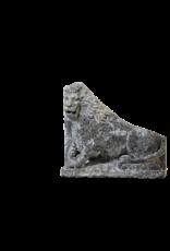 Antiguo Par De Leones De Piedra Caliza