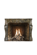 17Th Century Chique French Antique Fireplace Surround In Dark Fossil Stone