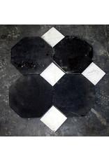 Achteckiger antiker schwarzer belgischer Marmor Böden