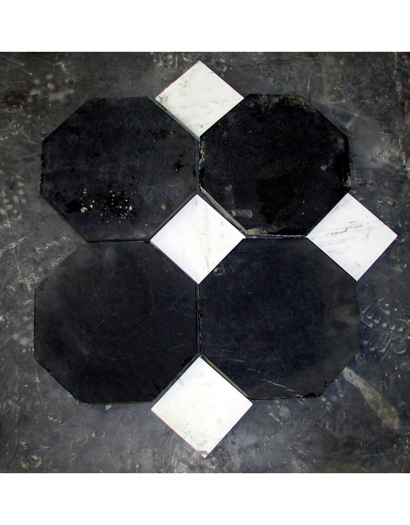 Octagonal Antique Black Belgian Marble Dalles