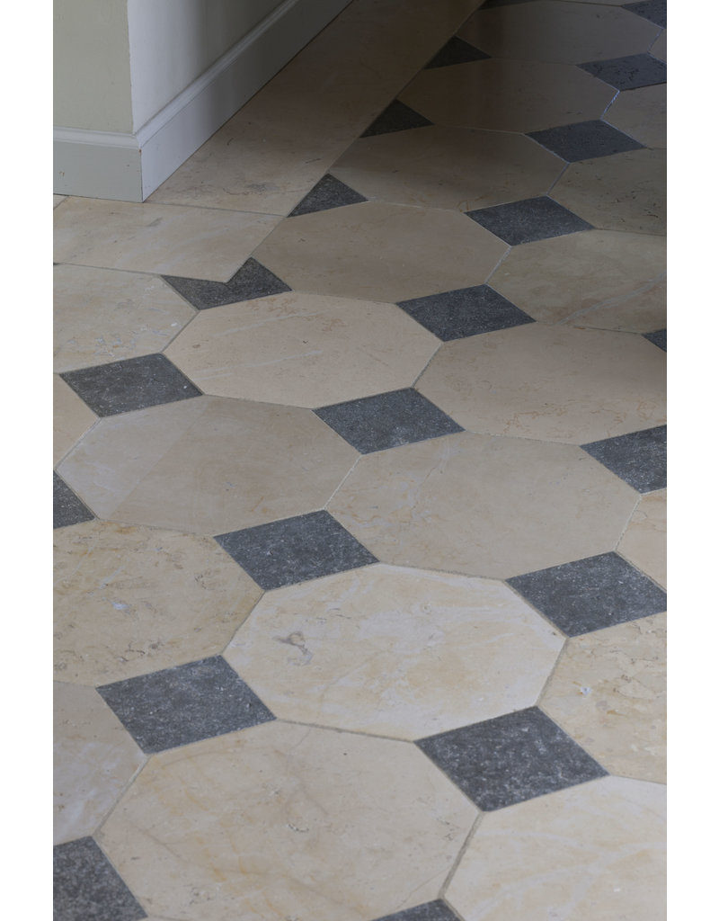 french octagonal marble and stone mix floor tiles
