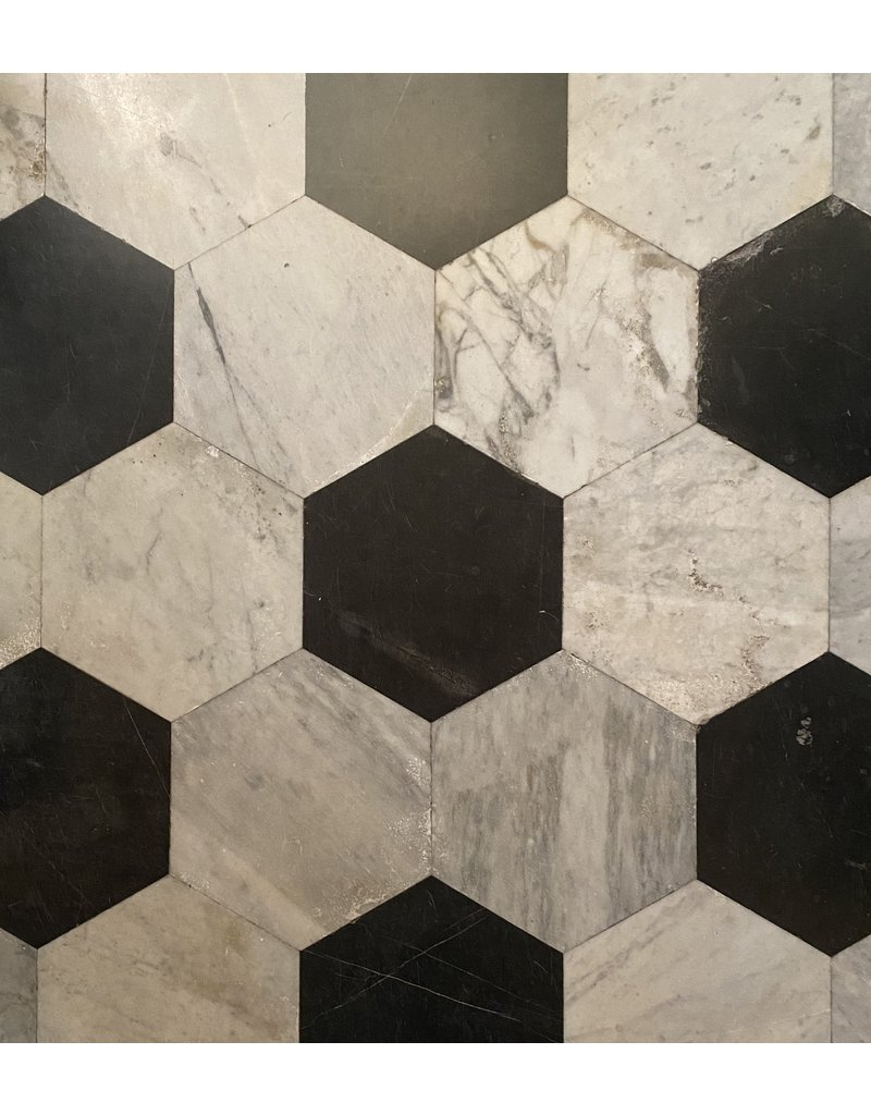 The Antique Fireplace Bank Hexagonale Cut Antique Marble Tiles To Mix With Other Colour