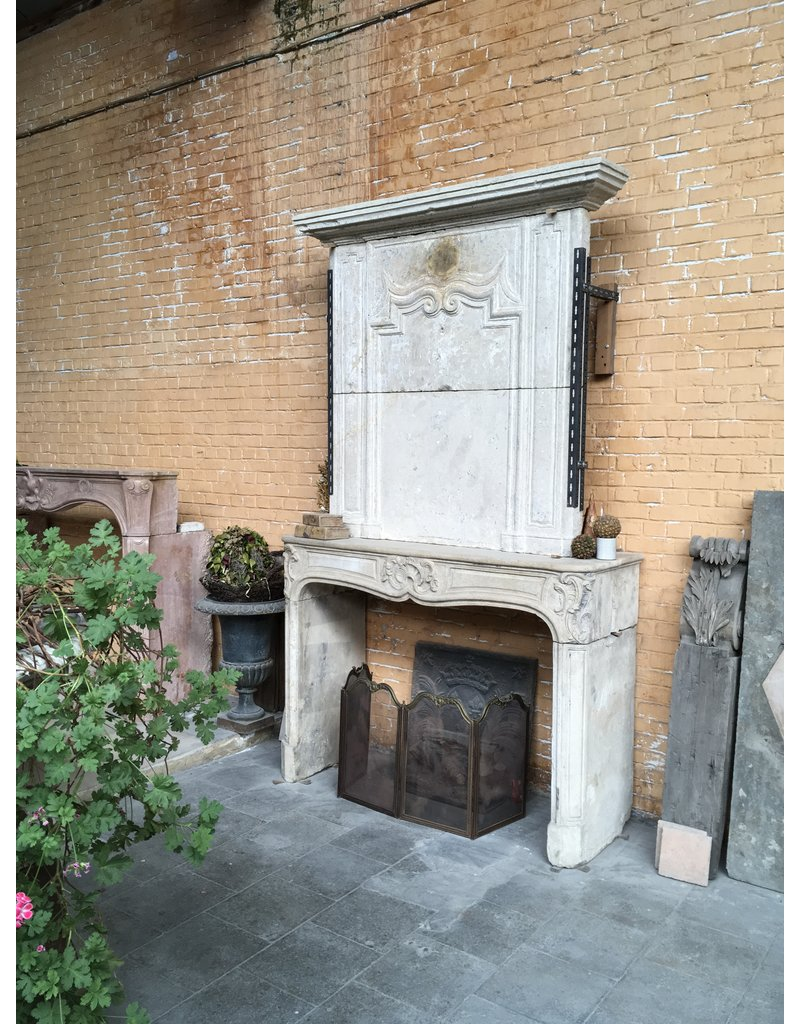 The Antique Fireplace Bank Classic Vintage Fireplace Surround In Limestone With Upper Mantle