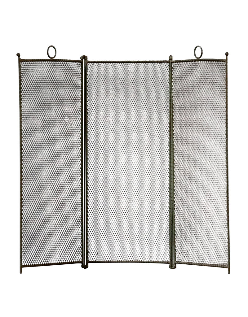 3 Pannel Rustic Fireplace Screen With Patina