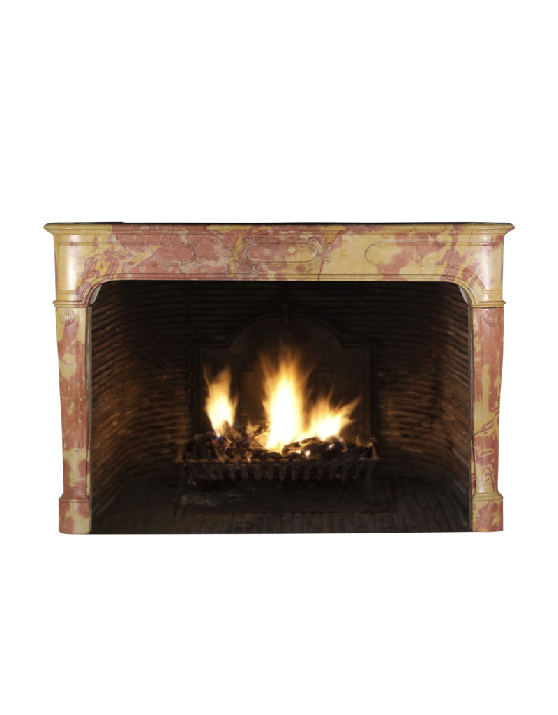 The Antique Fireplace Bank Louis XIV French Bicolor Stone Fireplace Surround