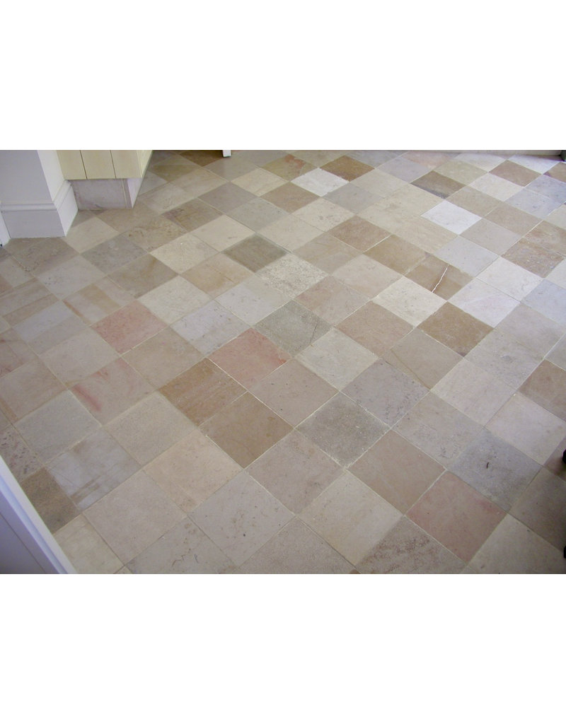 The Antique Fireplace Bank Original French Bicolor Hard Limestone Floor