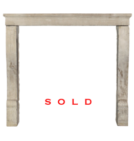 Small French 19Th Century Antique Limestone Fireplace Surround